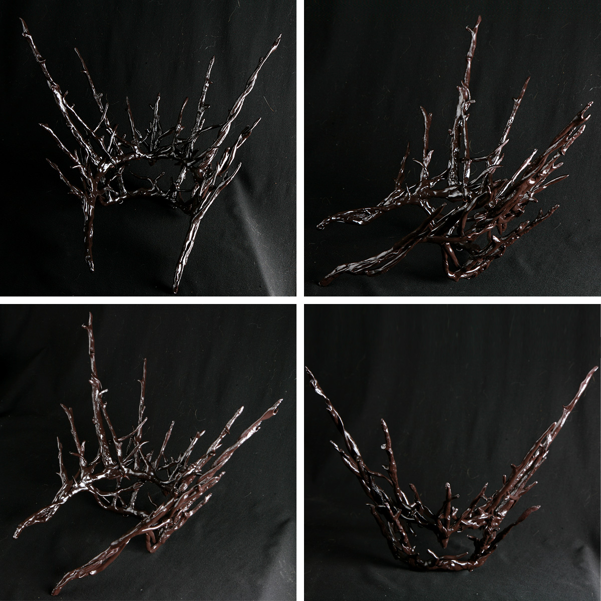 A 4 part image showing multiple views of a plastic replica of Thranduil's crown, painted dark brown.