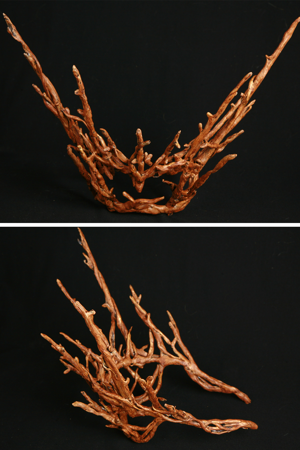 A multi part image showing differnt views of a plastic replica of a Thranduil crown - from The Hobbit -painted to look realistically like wooden twigs.