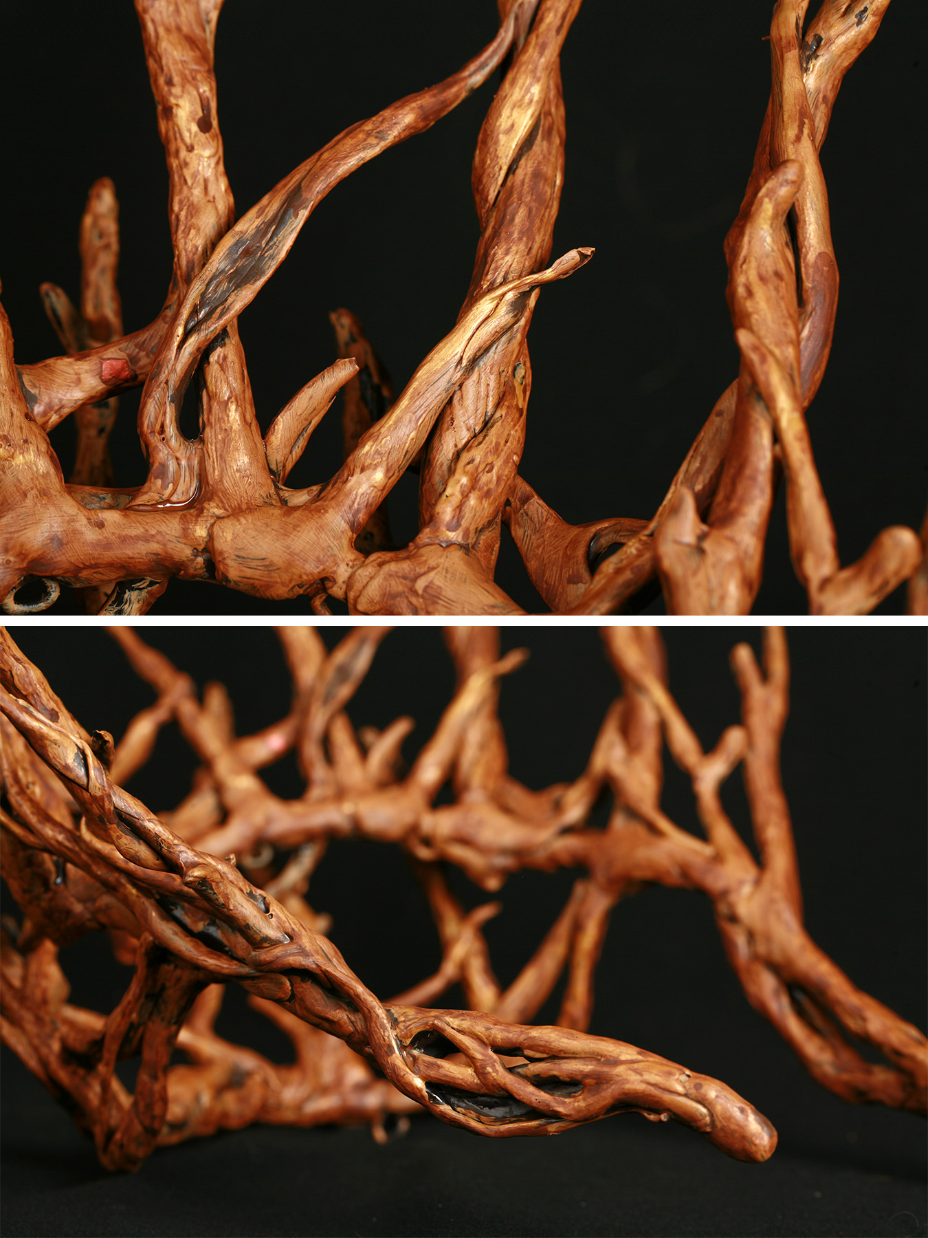 A multi part image showing differnt views of a plastic replica of Thranduil's crown, painted to look realistically like wooden twigs.