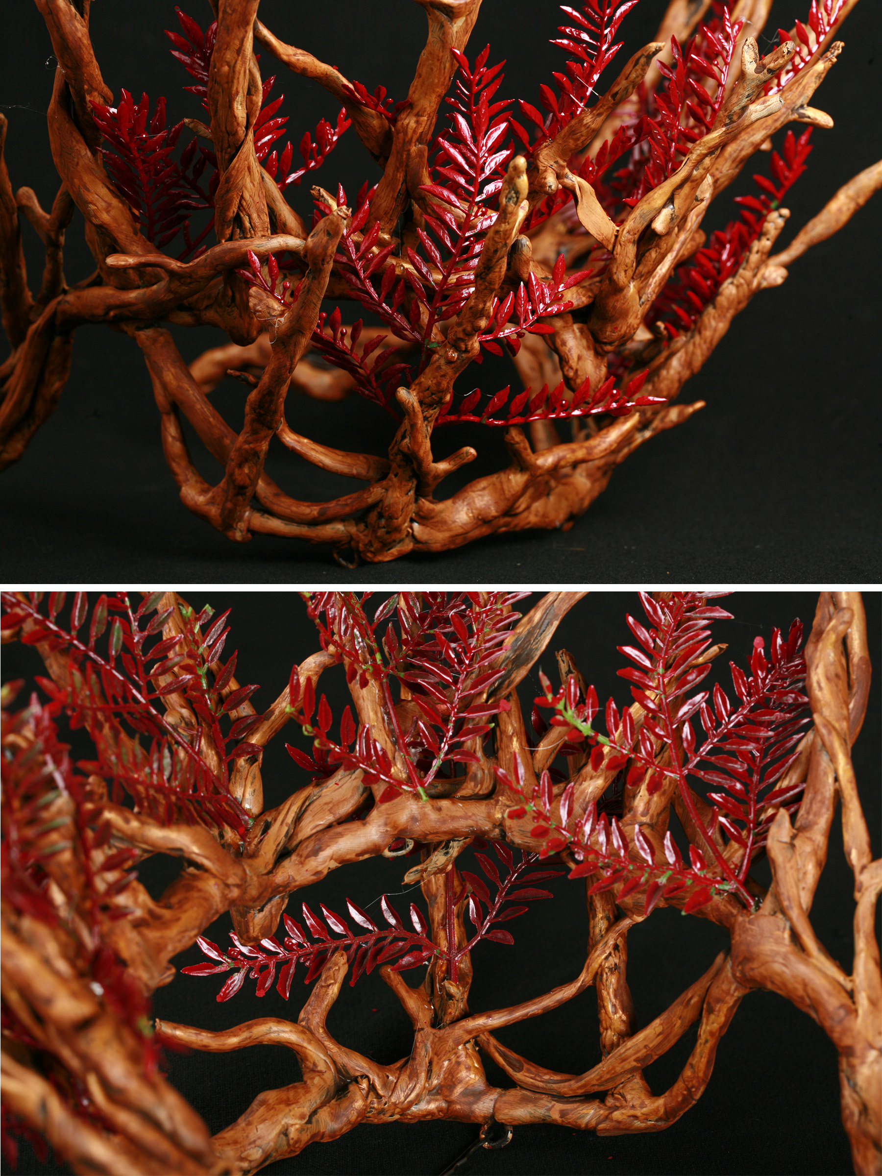A 2 part image showing different views of plastic replica of a Thranduil's crown - from The Hobbit. It is painted to look realistically like wooden twigs. Small branches of red plastic leaves are woven among the branches.