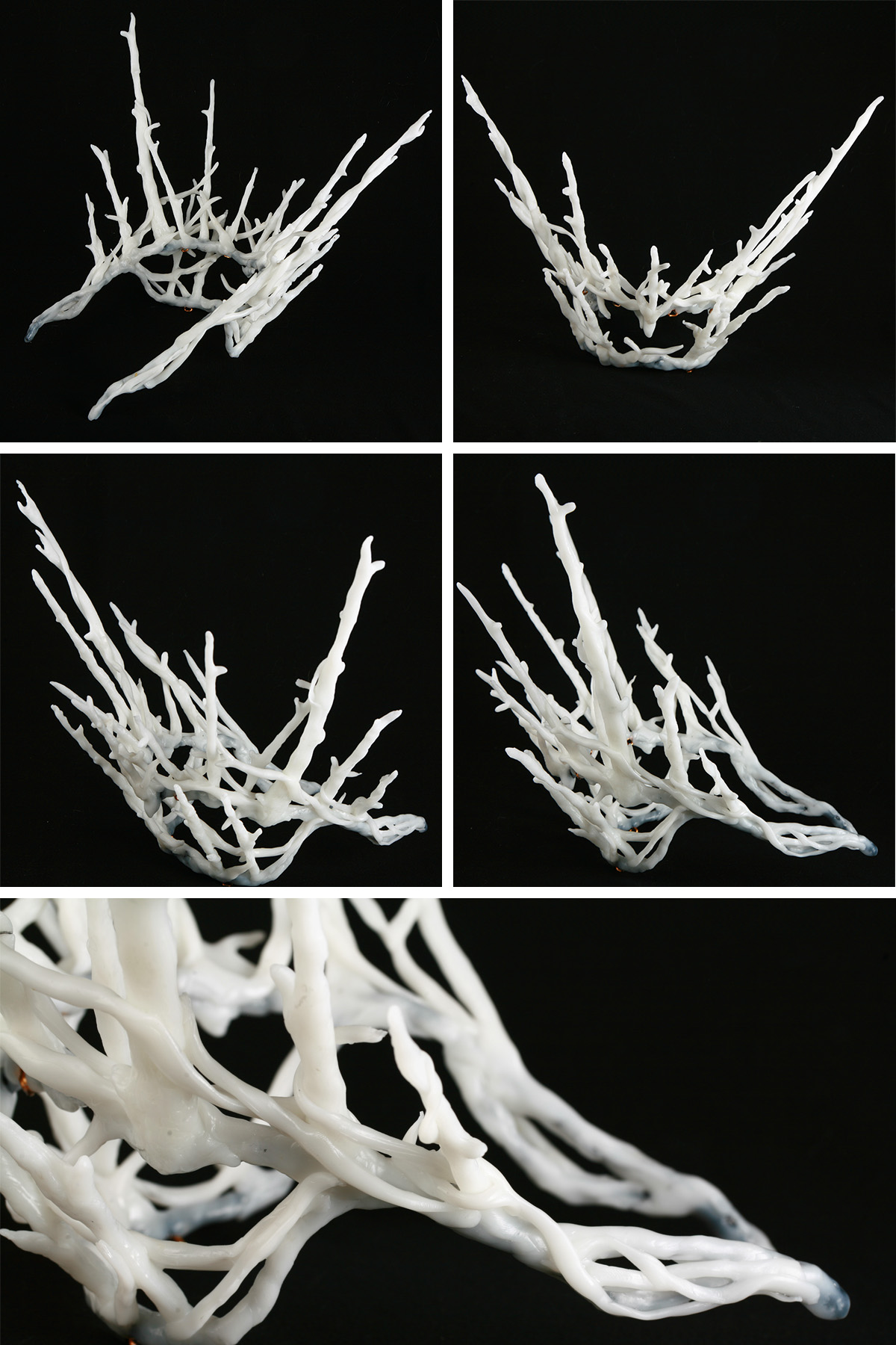 A 5 part image showing multiple views of a white plastic replica of Thranduil's crown.