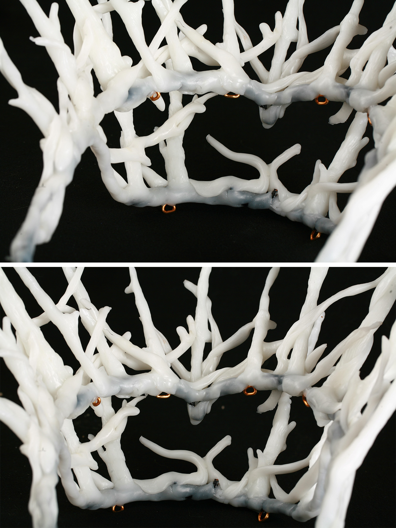 A 2 part image showing multiple views of a white plastic replica of Thranduil's crown.