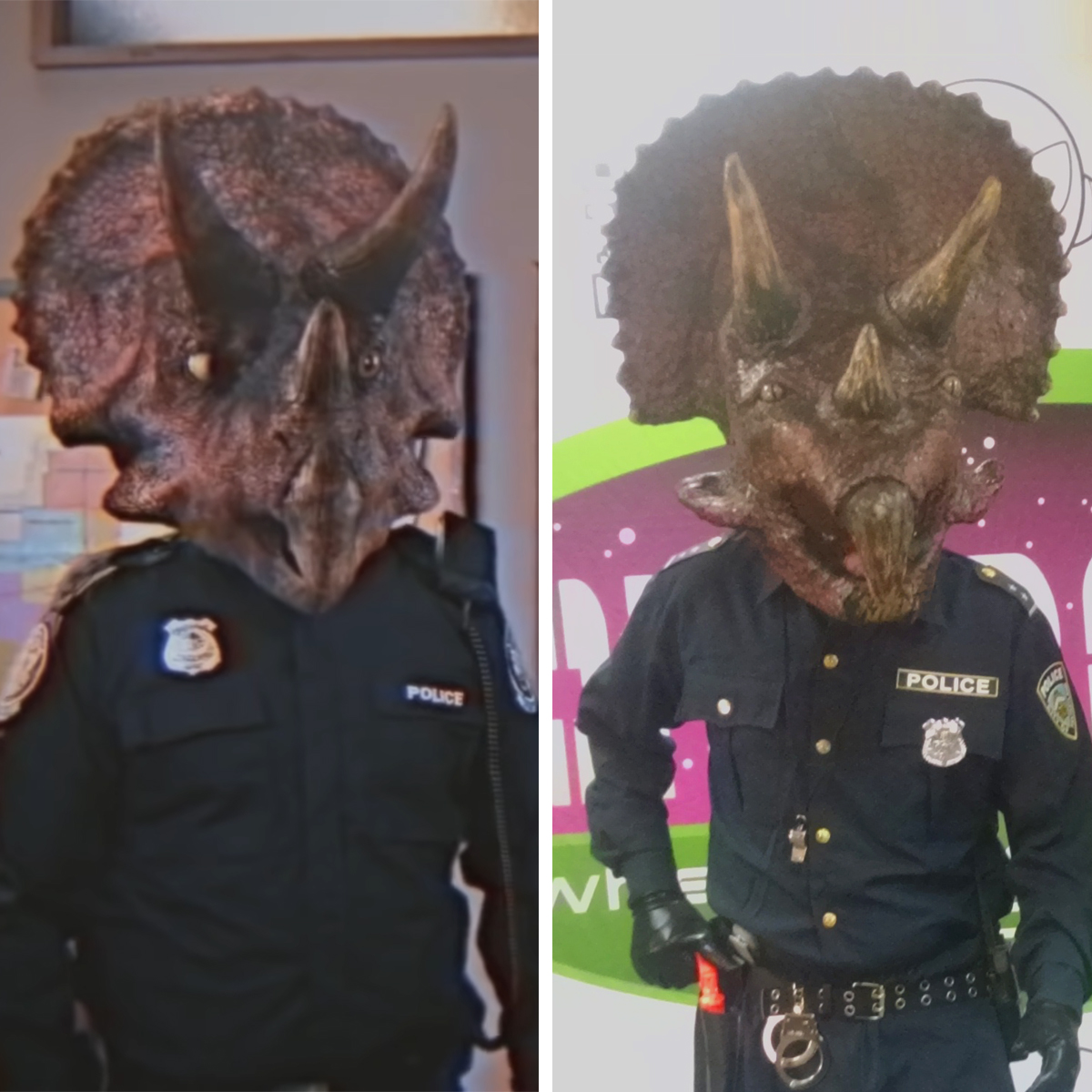 A side by side comparison of the Kung Fury screenshot of Triceracop, with our finished costume.