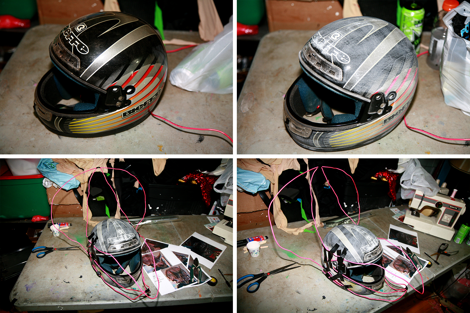 A 4 part image showing a sanded motorcycle helmet having a wire frame built onto it.