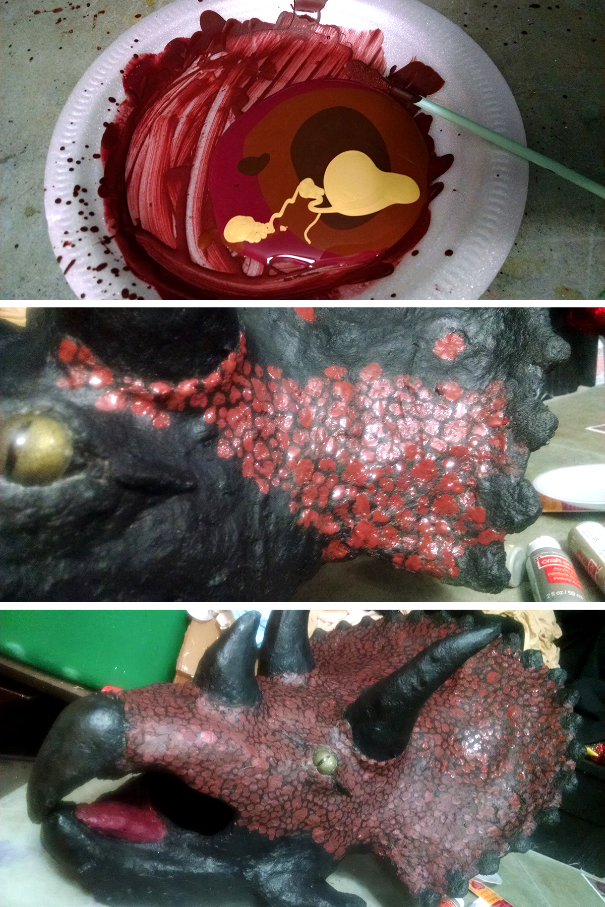 A 3 part image showing paint being mixed and applied to the mask in irregular blobs.