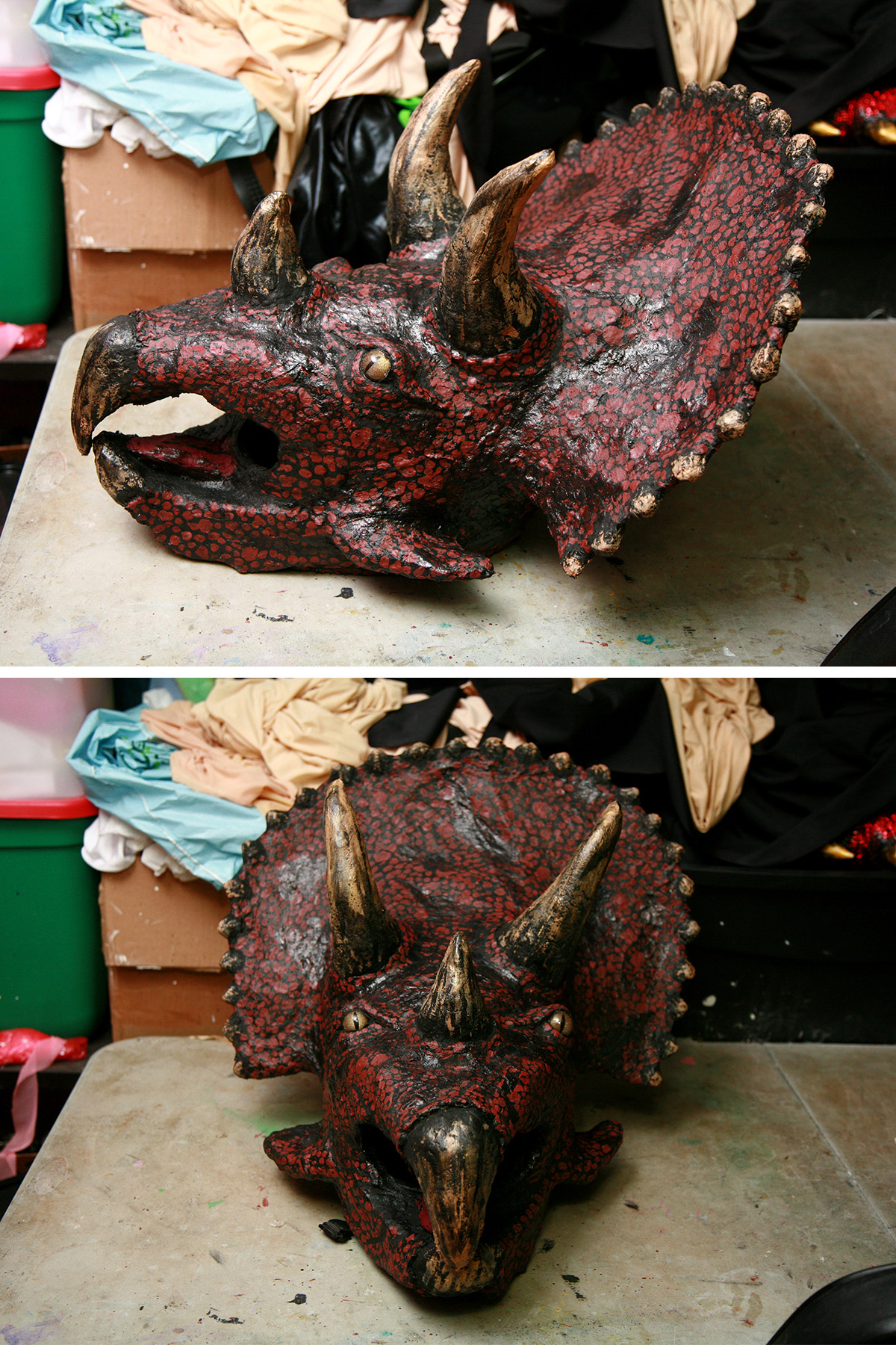 2 views of the finished triceracop costume mask.