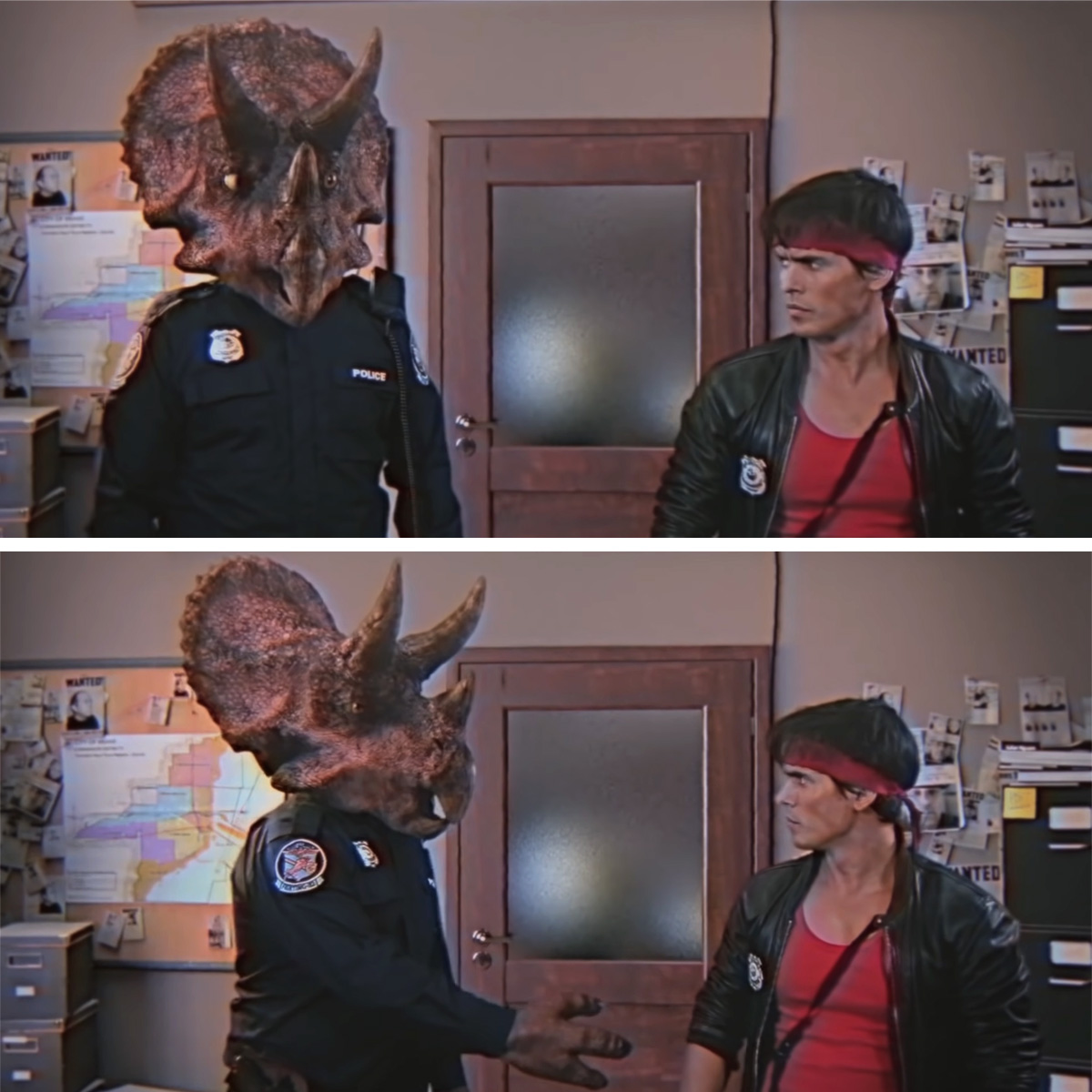 2 screen shots from Kung Fury. Both feature a man with a triceratops head, and a man in red shirt, leather jacket, and long red headband.
