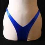 Front view of a v cut bikini bottom on a dress form.