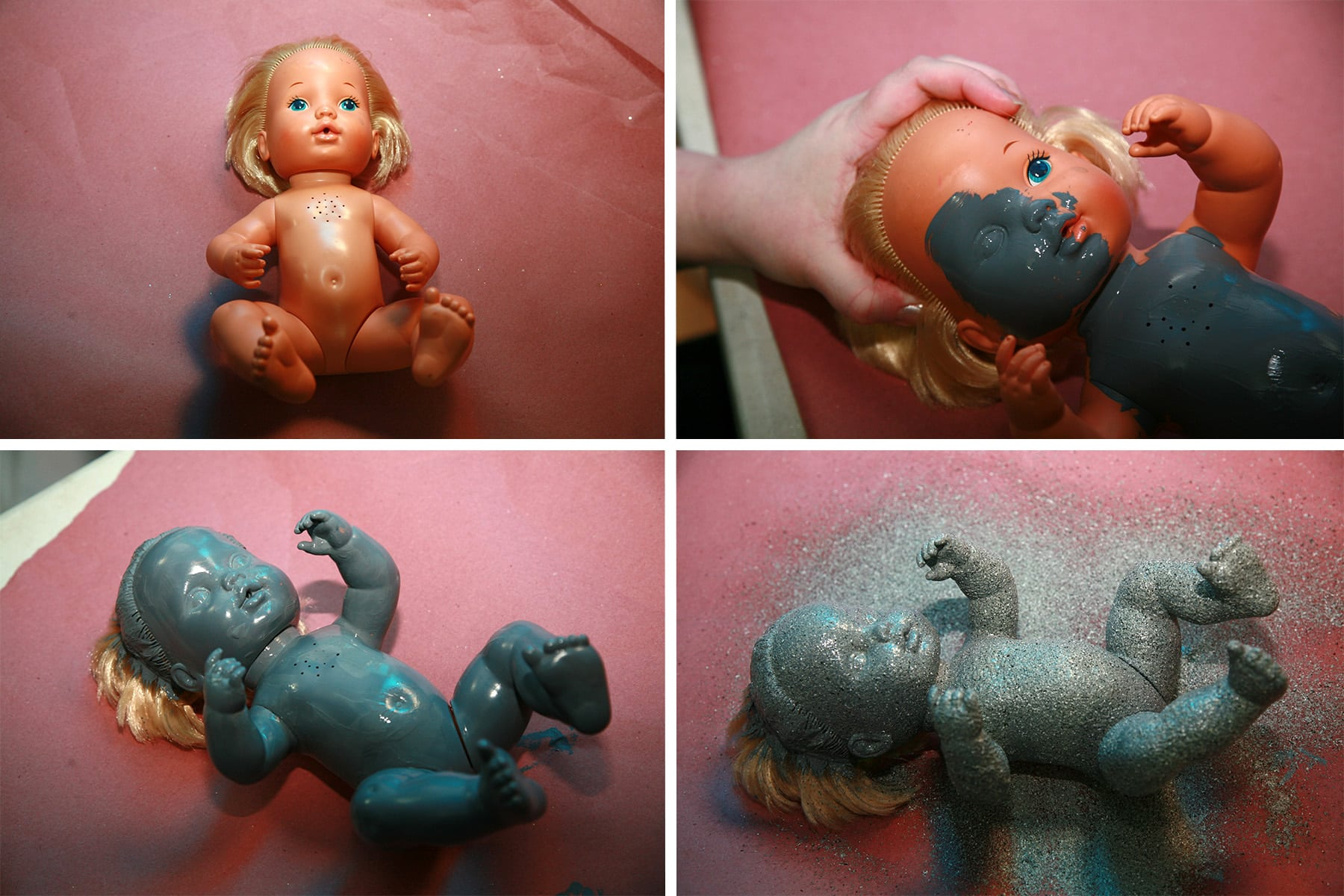 A 4 part image showing a baby doll being painted grey.