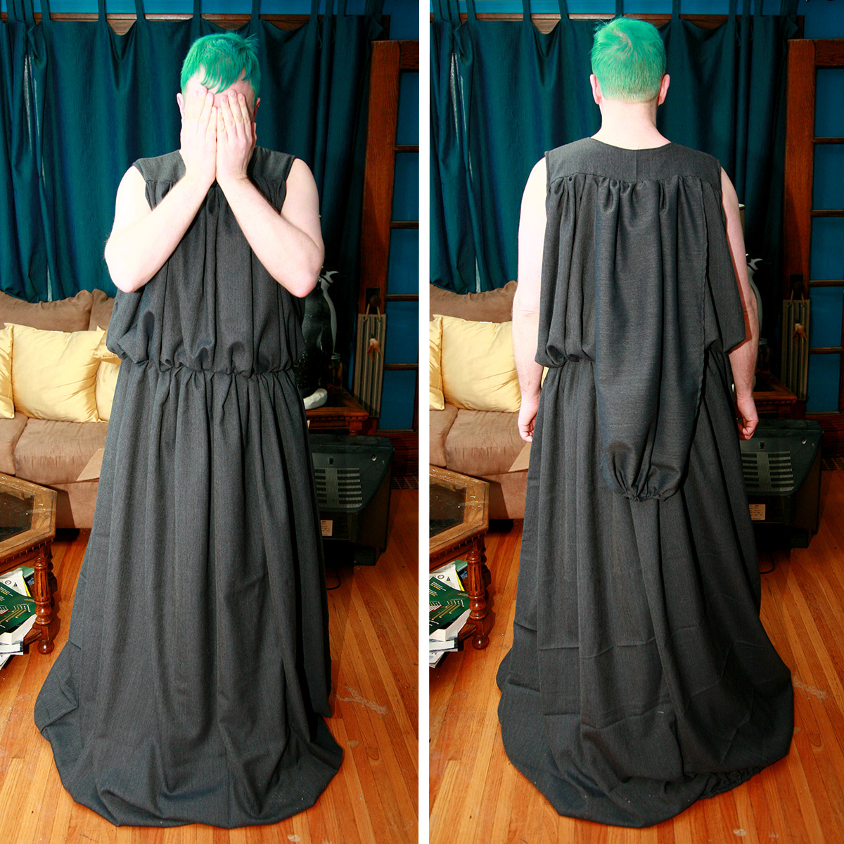A two part image - front and back views of a man in a billowy, full length grey dress.