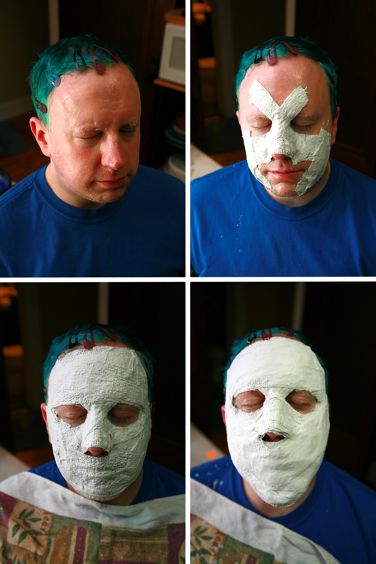 A 4 part image showing a man having plaster applied to his face to make a mask.