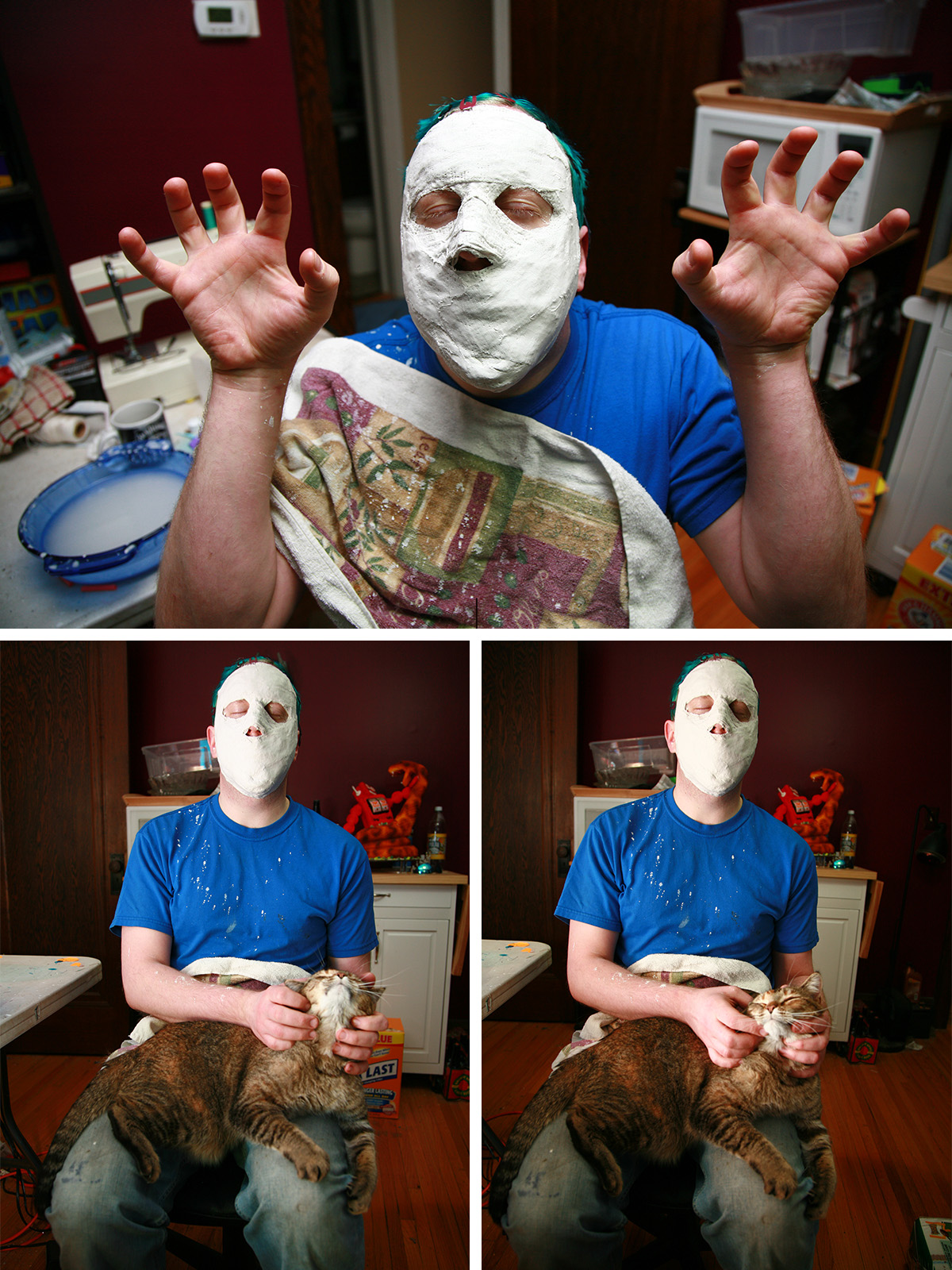 A 3 part image of a man with plaster all over his face, holding a tabby cat in his lap.