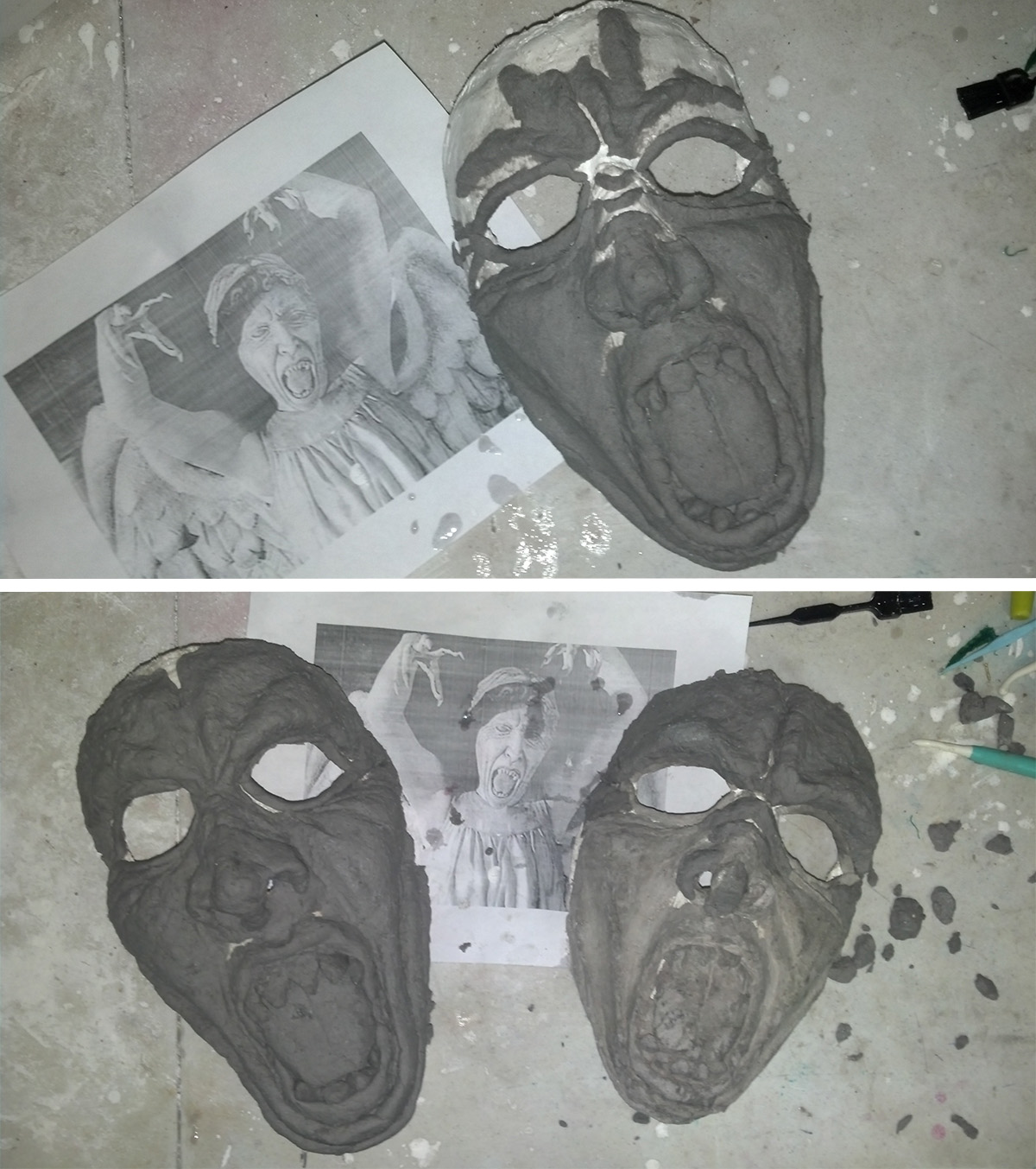Paper clay being used to sculpt the features on the masks.