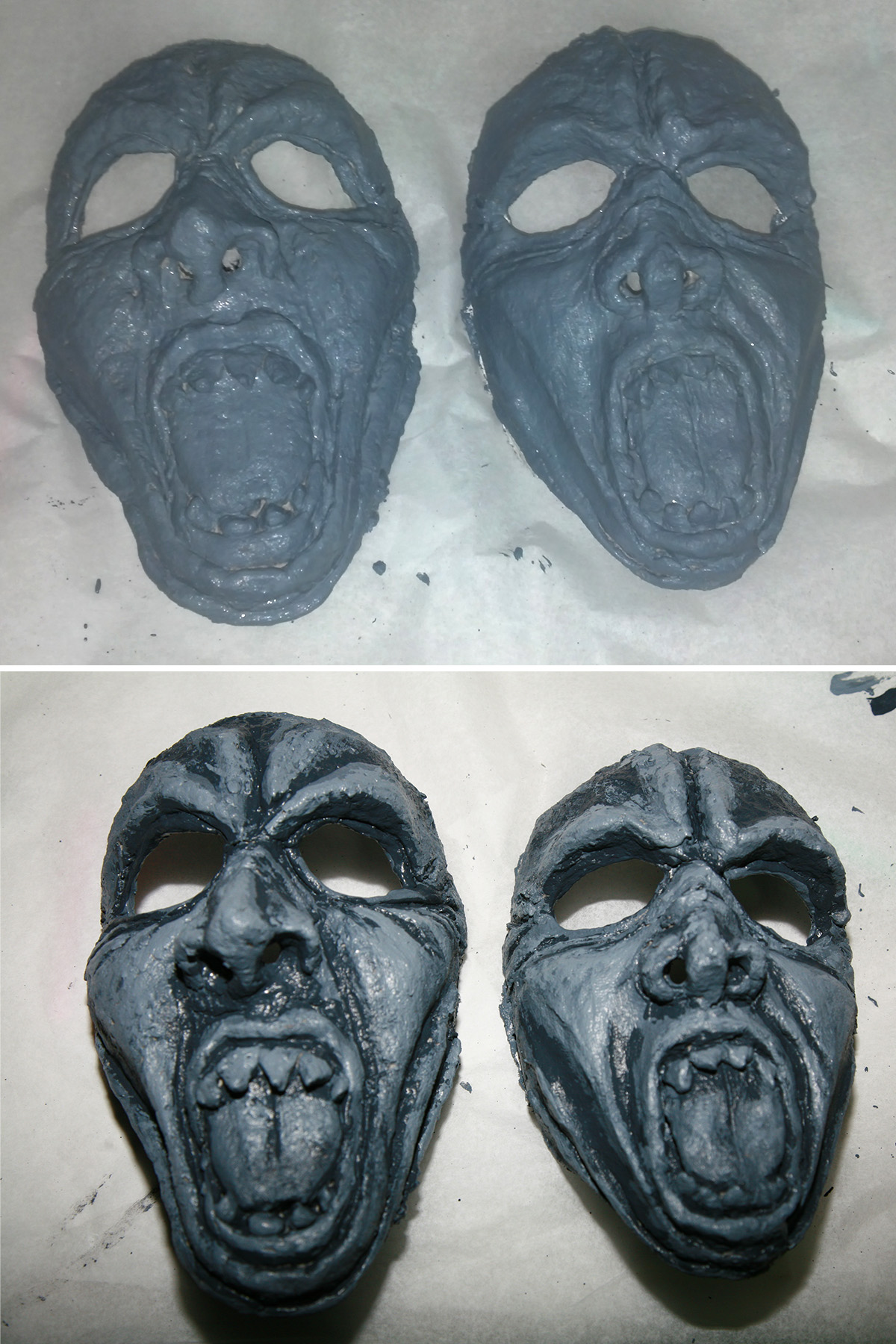 A two part image showing 2 grotesque looking face masks painted grey, then detailed with darker grey shadowing.