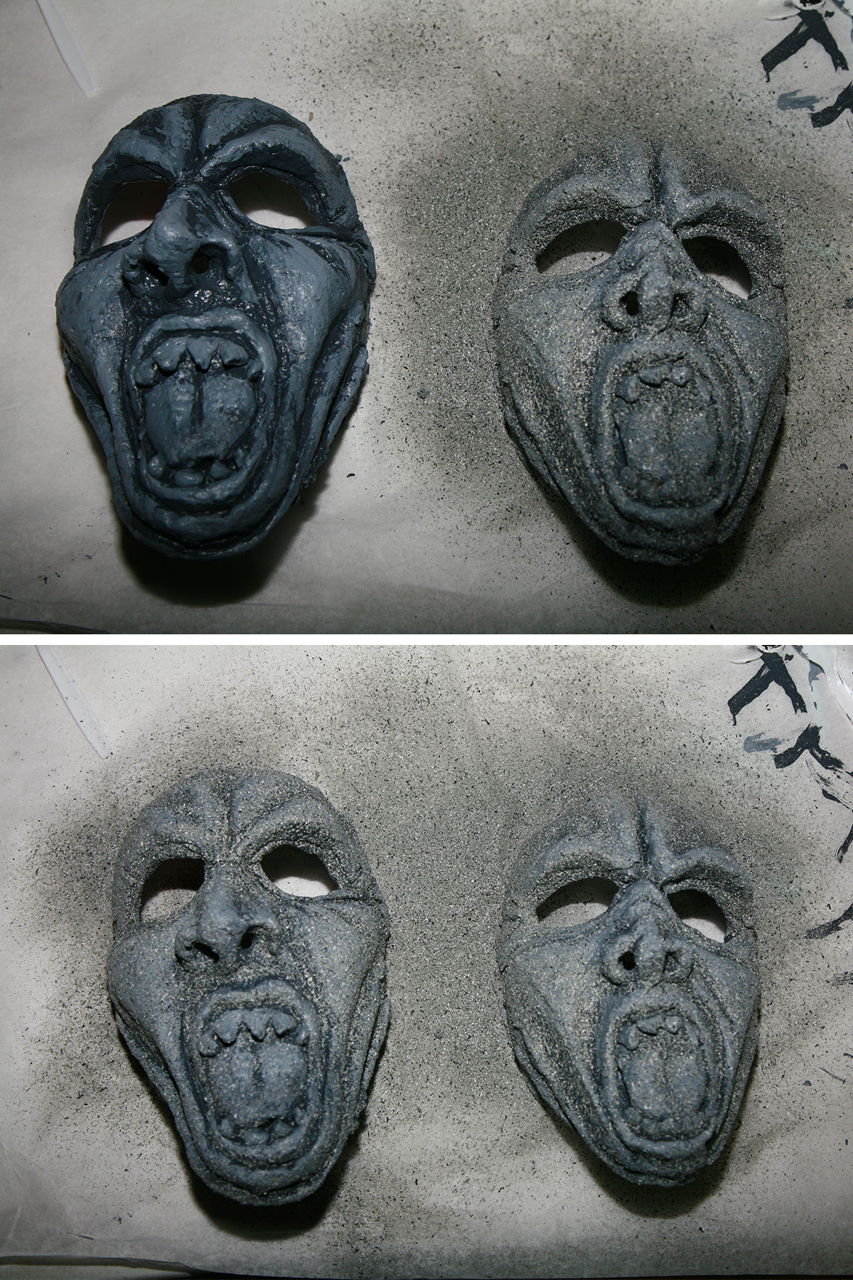 A two part image showing grey face masks being sprayed with stone texture paint.