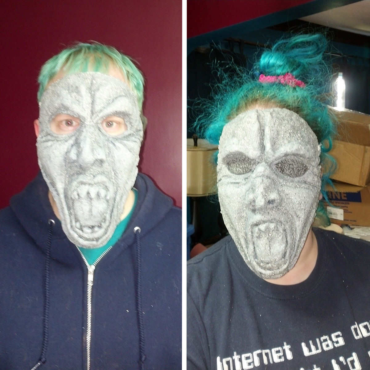 A side by side image of a man and a woman wearing weeping angel masks.