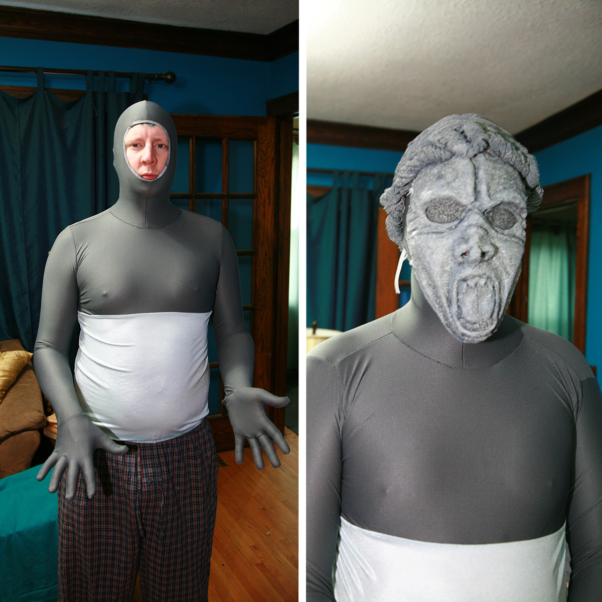 A man in a grey bodysuit that only shows his face, then the same man with a weeping angel mask and a grey wool wig on.