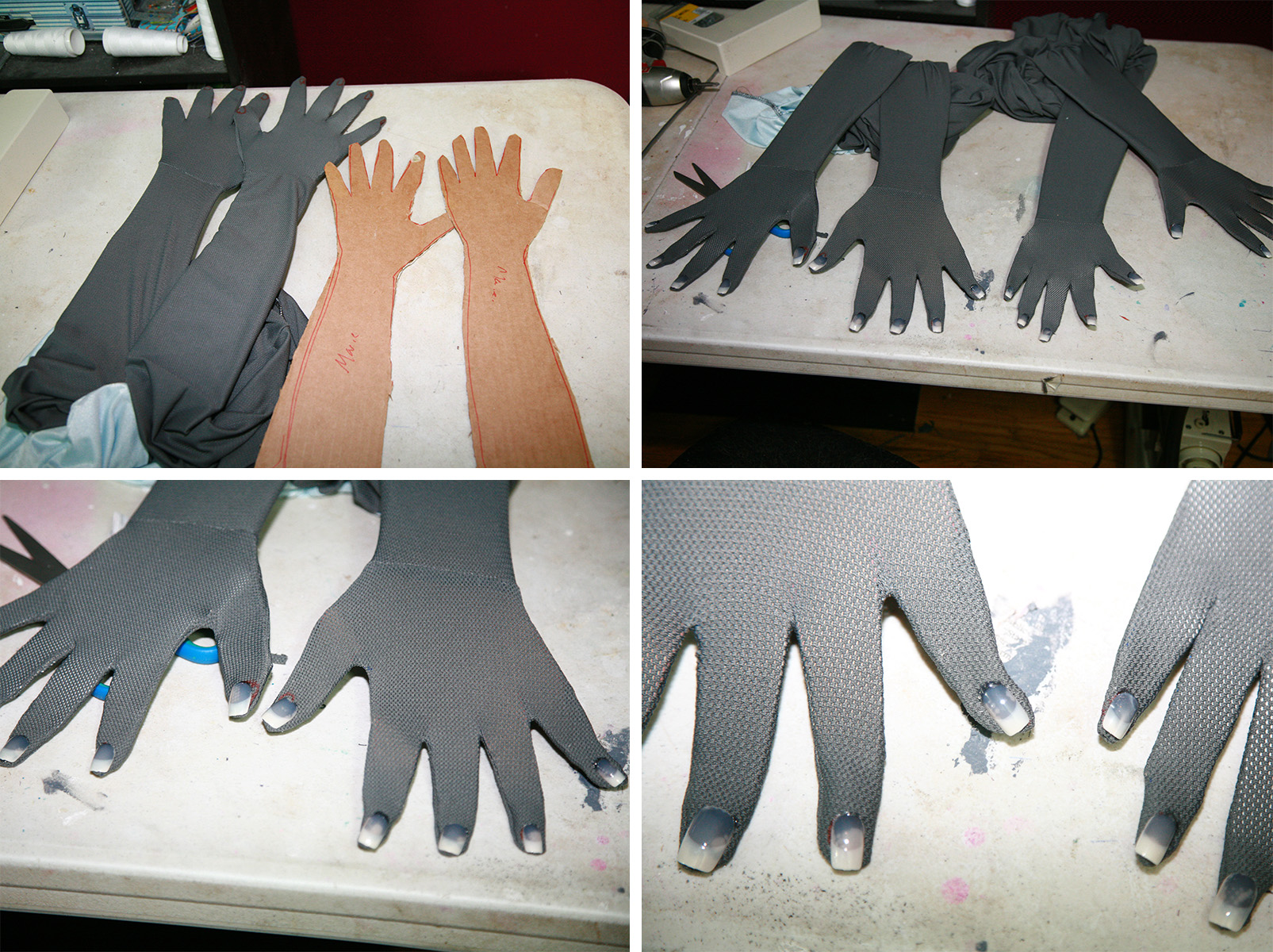A 4 part image showing fake nails being applied to the fingers of a grey bodysuit.