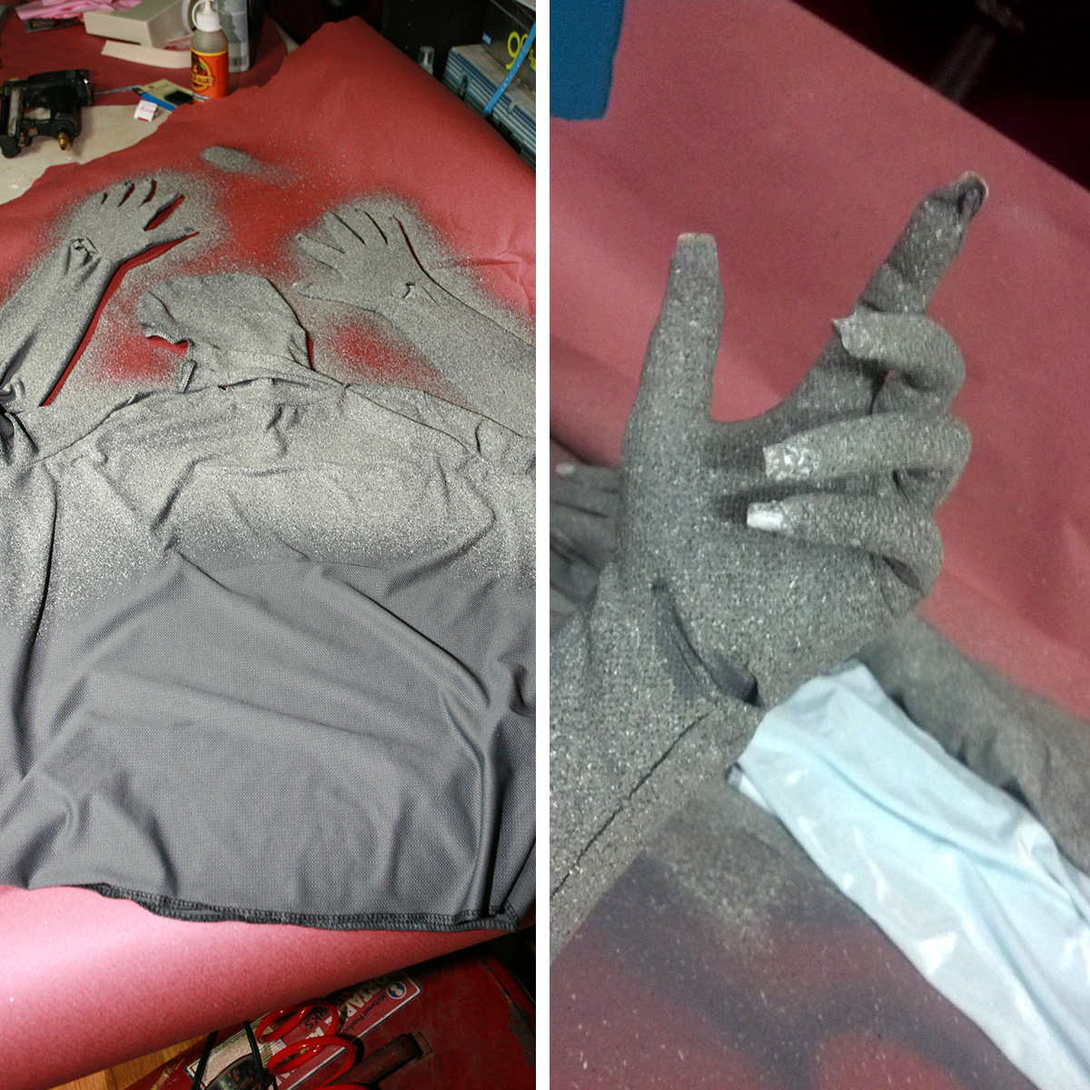 A grey bodysuit being painted with stone look paint, and a hand wearing the grey bodysuit.