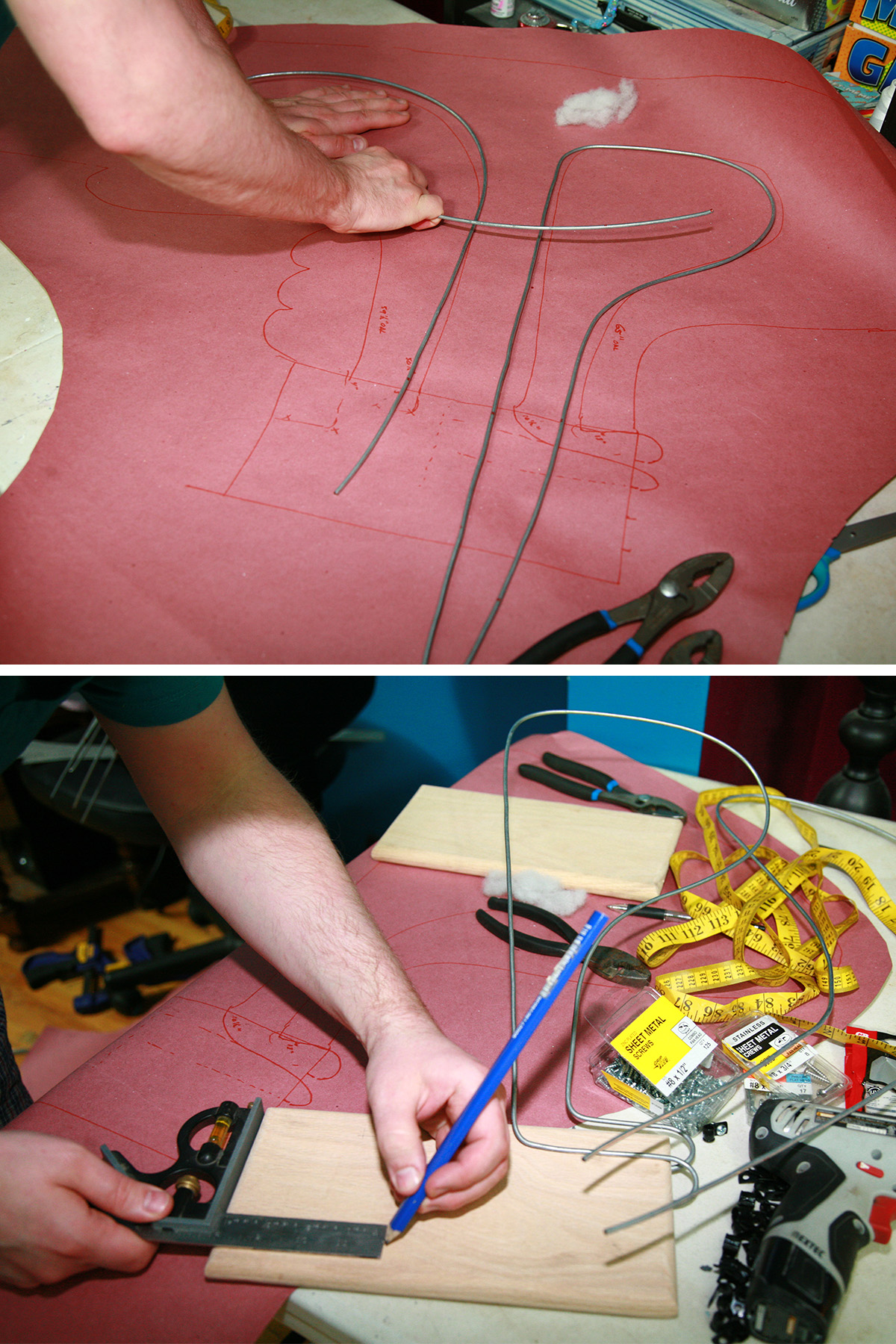 Thick wire being bend into loops, and a man marking a spot on a rectangle of wood.